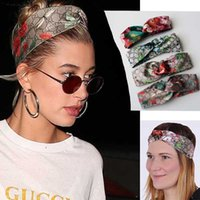 Wholesale Flower Birds - 100% Silk Front Knotted Headband Fashion Luxury Brand Bloom Flower Bird Elastic Hairband For Women Girl Retro Floral Turban Headwraps Gifts