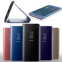 not çevirme kutusu penceresi toptan satış-Iphone x 7 için resmi ayna cüzdan case artı 6 6 s galaxy j7 max not 8 5 çevirme deri kaplama akıllı pencere görünümü tutucu metalik kapak