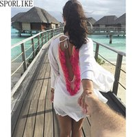 vestido sem costas x venda por atacado-X Backless Tassel Bikini Cover Up Oco Crochet Swimsuit Beach Dress Mulheres 2018 Senhoras de Verão Cover-Ups Maiô Beach Wear