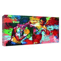 yağlı boya tuvalleri toptan satış-UNFRAMED Modern Yağlıboya Rocky vs Apollo-Leroy Neiman Boks HD Tuval Baskı Ev Dekor Oturma Odası Yatak Odası Duvar Resimleri Sanat (Unframe