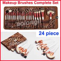 Wholesale golden rose cosmetics - 2018 Leopard bag Makeup Brush 24 pcs Rose Golden Brushes Kit Face Powder Foundation Brush Set cosmetics Blush Brush Eyeshadow brushes