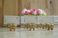 ingrosso titolari di carta di posto elefante oro-All'ingrosso-200pcs Golden Gold Lucky Elephant Titolari Titolari di carte Nome Numero Tavolo Luogo Bomboniera Regalo Bomboniere uniche