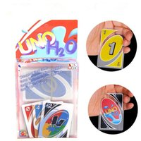 Wholesale playing cards puzzle - Waterproof UNO Card H2O Waterproof Playing Card Games Family Travel Instruction Games Poker Playing Cards Puzzle Games OOA4516