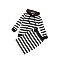 Wholesale tight long black skirt - Baby Girls Hoodie Skirt Black White Striped Long Sleeve Tight Skirts Spring Autumn Clothing Sets Two-piece Kids Toddler Outfits 2-6T