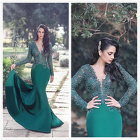 Wholesale Top Arabic Fashion Dress - Arabic Dark Green V Neck Long Sleeves Satin Mermaid Evening Dresses Lace Top Long Formal Dresses Prom Party Gowns Celebrity Dresses 2018
