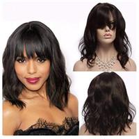 Wholesale full fringe hair for sale - 130 Brazilian Remy Human Hair Wigs With Full Fringe wavy bob Lace Front Human Hair Wigs with Bangs for Black White Women