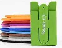 halter silikon tablette großhandel-Finger Touch mit Kartensteckplatz Halter Stander Aufkleber Halterung Stents Silikon für iPhone Samsung Handy Tablet