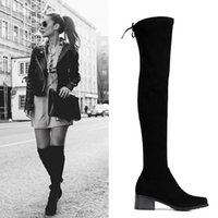 Wholesale Knee Length High Heels Boots - Velvet Knee Length Boots For Women Fashion Sretchy Wedding Shoes Bride Black Look Slimmer Ladies Winter Supplies
