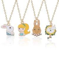 alice mädchen großhandel-Kawaii Alice Clock Kaninchen Halskette für Frauen Emaille Tier Bunny Girl Halsketten Anhänger Mode Alice im Wunderland Schmuck Großhandel