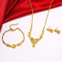 24k altın gelin setleri toptan satış-(229 S) Yeni Varış Gelin Çiçek Düğün takı seti Ücretsiz kargo için 24 k Altın Kaplama