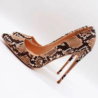 ingrosso scarpe stiletto-blingbling scarpe donna tacchi a spillo tacchi a spillo pitone marrone chiaro punta punta sexy tacco alto pompe partito scarpe da sposa 12 cm 10 cm 8 cm