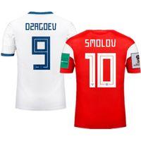 ingrosso jersey russia-Coppa del Mondo 2018 Russia Home Fuori maglie di calcio Smolov Futbol Camisa National Football Camisetas Shirt Kit Maillot