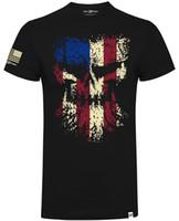 klasik kafatası toptan satış-Dizel Güç Dişli Grunged Kafatası Bayrağı Resmi Dizel Sellerz Siyah Erkekler TShirt Hip Hop Tarzı Üstleri Erkekler Klasik Rahat Yaz T-shirt Tops