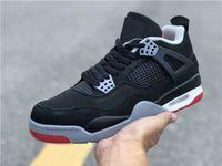 en iyi iv toptan satış-En İyi Yeni 4 yetiştirilen IV OG siyah kırmızı düşük erkekler basketbol ayakkabı spor sneakers erkek 4 s eğitmenler açık en kaliteli boyutu 7-13