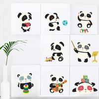 calcomanías de animales de vivero de animales del bosque al por mayor-Bosque de la historieta Panda Decorativo Pegatinas de Pared Para Niños Habitaciones de la Habitación del Bebé Decoración Home Cute Animals PVC Mural Wall Art DIY Calcomanías