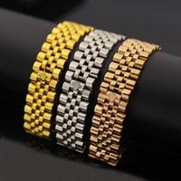 corona imperial de la moda al por mayor-Amplia cadena de reloj Imperial Crown pulseras brazaletes de acero inoxidable 316L 18 K oro rosa amarillo plateado de lujo joyería de moda de diseño KKA1844