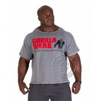 camisas de batwing de verão venda por atacado-Mens verão Roupas de marca T Shirts dos homens Golds Homens de Fitness Musculação Gorilla Wear Camisa Batwing Manga Rag Tops MMA-1