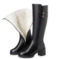 ingrosso stivali in lana di lana alti del ginocchio-Stivale invernale da donna Fanyuan Stivale invernale da donna in vera pelle di lana naturale Stivaletti alti da donna di alta qualità Scarpa da donna di marca