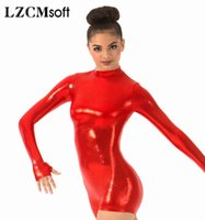 ingrosso corporei lucenti-LZCMsoft Shiny Metallic Long Sleeve Biketards One Piece Wet Look Body Mock Neck Donne Ginnastica Stage Performance Costumes