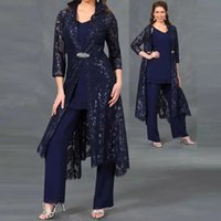 Wholesale light pink mother bride outfits for sale - Group buy Plus Size Three Pieces Mother of the Bride Suits navy blue V neck Sequined Lace Ankle Length Jacket Formal Dress Sleeve Ladies Outfit