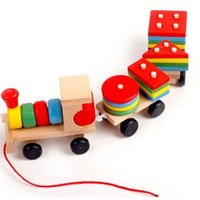 Wholesale dragging toys for sale - Train Building Blocks Children Puzzle Environmental Toys Three Links Drag Puddle Jumper Design Wooden Kids Gifts High Quality oy W