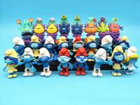 figuras elfas al por mayor-24pcs Set Smurfs The Village elfos perdidos Papa Smurfette Figuras de acción torpes misterio máscara Cake Topper Juego de juguete