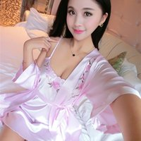 Wholesale Women Hot Baby Doll Sexy - Wholesale-2 Piece Set Women Silk bath robe Sexy Lingerie Hot Nightgown Sleepwear intimates Baby Dolls pajamas nightgown robe sleep tops