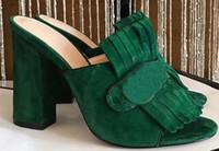 açık parmak sandal topuklu toptan satış-Marka Fringe Püskül Gladyatör Sandalet Kadın Açık Toe Tıknaz Yüksek Topuk Ayakkabı Kadın Marka Tasarım Muller Ayakkabı