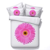 ingrosso coperta gialla bianca-3D floreale rosa Copripiumino set di biancheria da letto della regina Copriletto vacanze Quilt Covers Lenzuola federe giallo lenzuola bianche argento