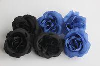ingrosso bouquet di fiori neri-Fiori artificiali Rose nere Real Looking Rose finte Bouquet da sposa fai da te Centrotavola Arrangiamenti Party Home (nero)