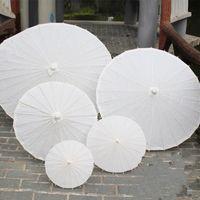 Wholesale Bridal Paper - 2017 bridal wedding parasols White paper umbrellas Chinese mini craft umbrella Diameter 20 30 40 60cm wedding umbrellas for wholesale