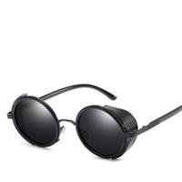 taraflı güneş gözlüğü toptan satış-Popüler Tasarımcı Erkekler ve Kadınlar için Polarize Güneş Gözlüğü trendleri erkekler retro yuvarlak güneş gözlüğü yan kalkanlar gözlük uv 400 lens