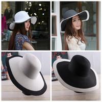 chapeaux d'été blanc dames achat en gros de-Chapeau de soleil pour les femmes en plein air Chapeau d'été à rayures noires et blanches Chapeau de paille pare-soleil de plage avec protection solaire LJJG23