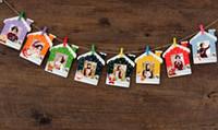 ständer wand bilderrahmen großhandel-9 stücke 3 zoll DIY Flim Hängende Wand Bild Papier Fotoalbum Kraft Rahmen + Seil + Clips haus Weihnachten stil dekoration