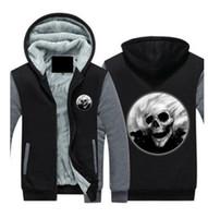 6140f5622d2c0 Mens Hip Hop Skull Cashmere Hoodie Jacket Leisure Sweatshirts Thicken Fleece  Hoody Winter Zipper Coat Long Sleeve tracksuit US EU Plus Size