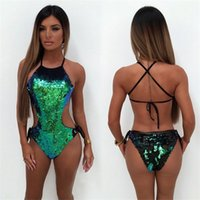 denizaltı tek parça toptan satış-Lady Bandaj Mayo Moda Backless Bikini Kadın Marka Tasarımcısı Mayo Yeşil Mermaid Sequins Ile One Piece Suits 41cr Ww