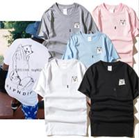 Wholesale slave dresses - Brand Designer-Ripndip man Slave Slave pocket T-shirt man funny cat graphic printed middle finger cat pocket cat T-shirt dress