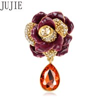 Wholesale purple crystal flower brooch pin for sale - Group buy Vintage Purple Enamel Three dimensional Flower Brooches For Women Crystal Lapel Pin Glass Pendant Fashion Jewelry