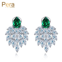 Wholesale high quality cubic zirconia stones for sale - Group buy Pera High Quality Handmade Vintage Women Party Bohemian Style Big Green Stone Dropping Earrings Jewelry With Cubic Zirconia E053