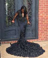 Wholesale Elegent Long Dresses - Elegent Scalloped Queen Anne Neck Black 3D Rosette Mermaid Prom Dresses 2018 African Black Girls Long Train Pageant Prom Gowns