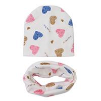 детские шарфы оптовых-Coon Baby Hat Scarf Set Love Heart Print Winter Spring Children Caps Scarves Boys Girls Knit Beanies Baby Accessories