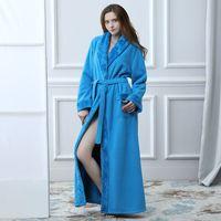 54f1ab06c8 long thick robes Australia - Winter Women Bathrobe Hooded Men Autumn Thick  Warm Towel Fleece Sleepwear