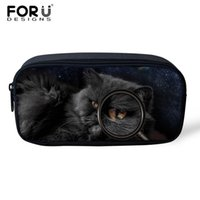 Wholesale kitty makeup bag resale online - Makeup Case Professional Box Bags Black Kitty Pencil Bag For Girls Travel Cosmetic Bag Toiletry Beauty Wash Kit Bags