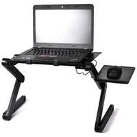 computadora ajustable al por mayor-Escritorios portátiles Ordenador portátil plegable Computadora portátil Regazo PC Plegable Mesa de escritorio Bandeja ventilada de la cama del soporte con caja al por menor Envío gratuito