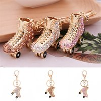 Wholesale ladies diamonds rings - Roller Skates Shoe Key Ring Fashion Creative Crystal Lovely Luxury Keychain Bag Charm Pendant Lady Gifts 7 5jx UU