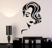 ingrosso materiale adesivo smontabile-Ragazza Face Adesivo Rimovibile Sfondi per salone di bellezza arredamento Barbiere Adesivo da parete in vinile