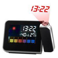 retroiluminación de pantalla led al por mayor-1PC Square Color Screen Snooze Alarm Clock Retroiluminación digital Pantalla LED Weather Report Retroiluminación Proyección Negro