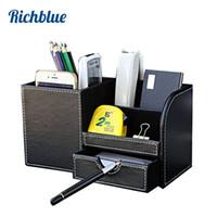 Wholesale black wooden pencil - Wooden PU leather Multi-Functional Desk Stationery Organizer Storage Box Pen Pencil Box Holder Case