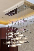 Wholesale ceiling lamp color glass - Modern Glass Fly Fish Ceiling Light Swarm Fishes Chandelier Living Room Light Crystal Cognac Color Fishes Ceiling Lamps