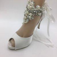 ayakkabı aksesuarları topuk toptan satış-Kadınlar Fildişi dantel Matkap Şerit yüksek topuklar düğün gelin nedime Parti AYAKKABı aksesuarları HEEL 8.5 cm boyutu 35-41